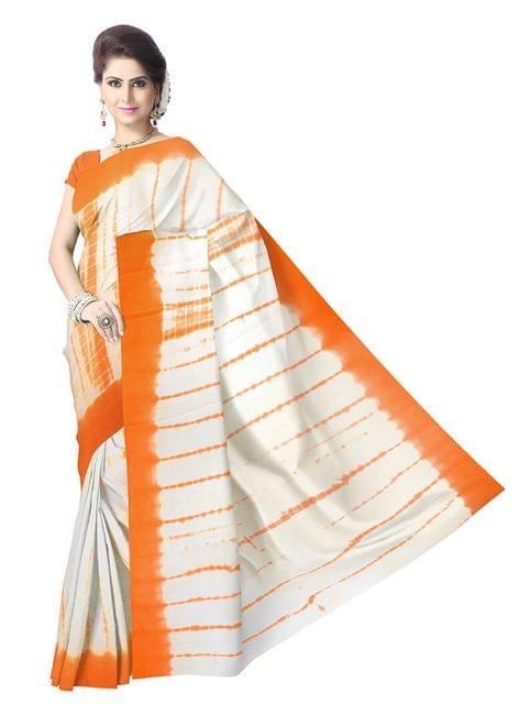Cotton Shibori Saree- Orange