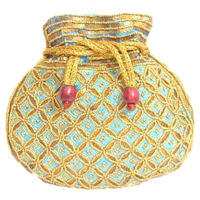 Beaded Potli/Batwa with Drawstring- Turquoise