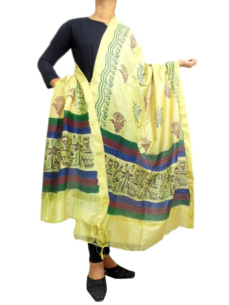 Hand Block Print Dupatta in Cotton Silk- Beige