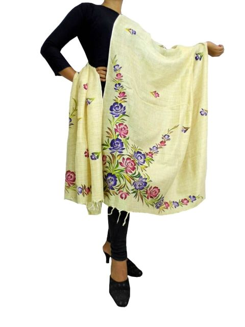 Hand Printed Dupatta in Khadi Cotton-Multicolored 7