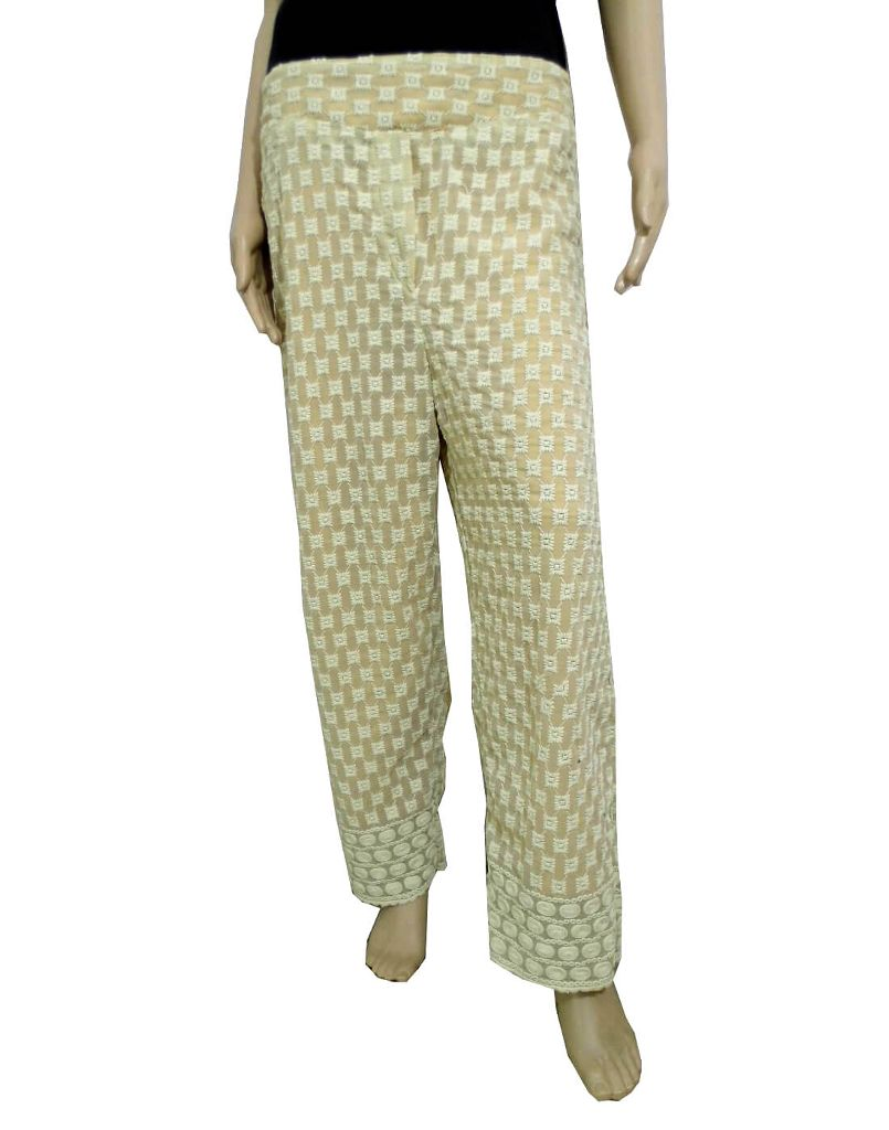 Georgette Palazzo Pants with Chikan Work- Beige