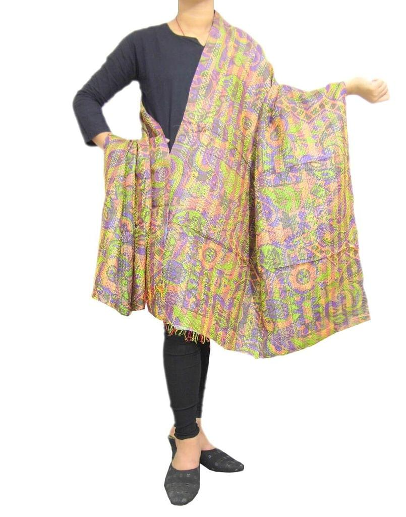 Reversible Kantha Dupatta in Cotton Silk-Multicolored 3
