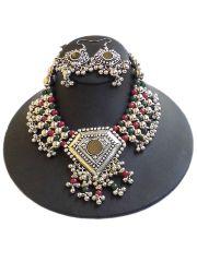 Oxidized Metal Jewellery Set- Red&Green Beads 1