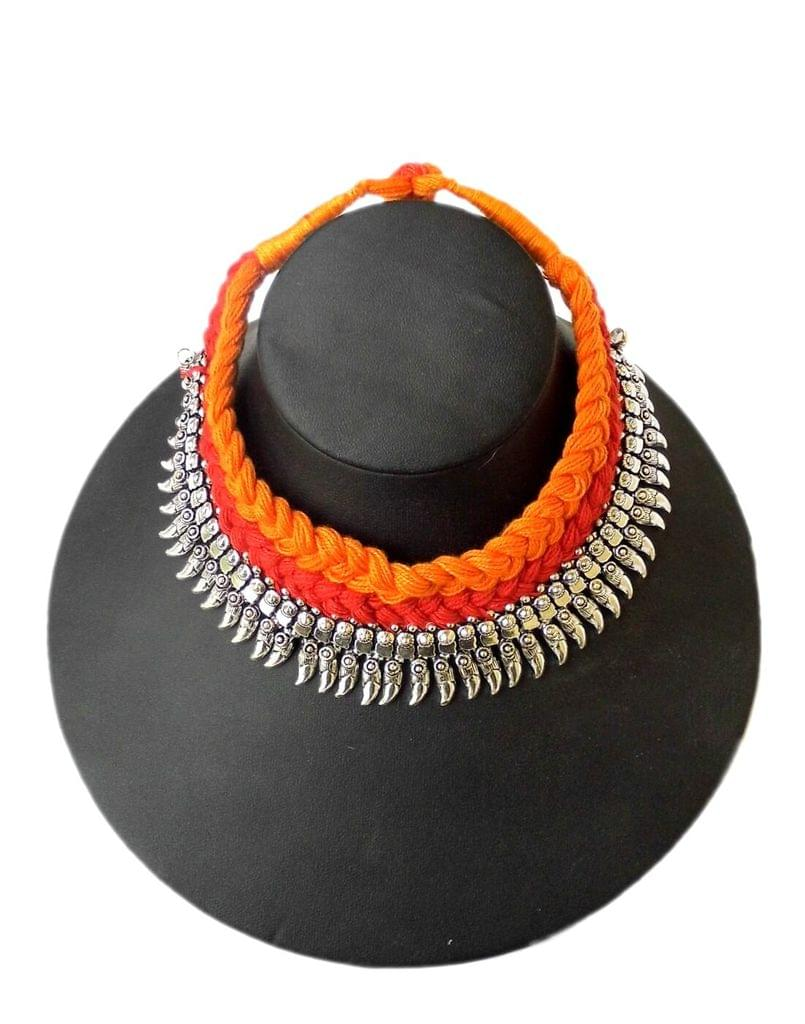 Braided German Silver Choker- Orange