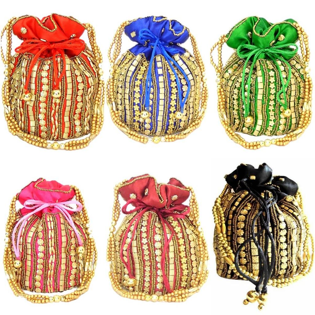 Set of 6/12 Bead Pouch/Potli Bags