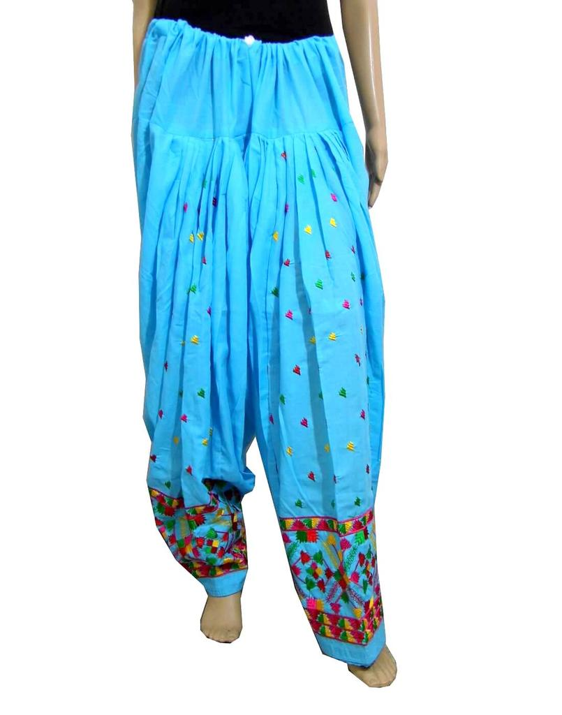 Cotton Phulkari Salwar- Turquoise