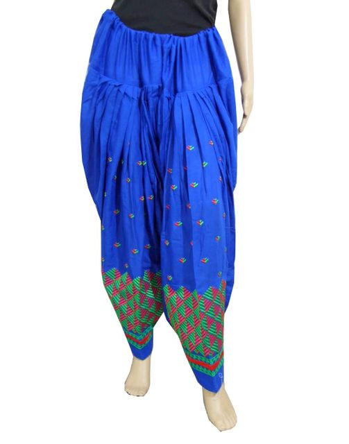 Cotton Phulkari Salwar- Blue