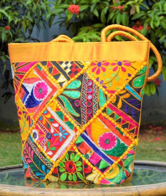 Handmade KutchWork Vintage Handbag in Silk-Yellow