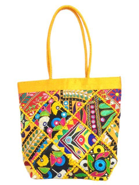Handmade KutchWork Vintage Handbag in Silk-Yellow 1