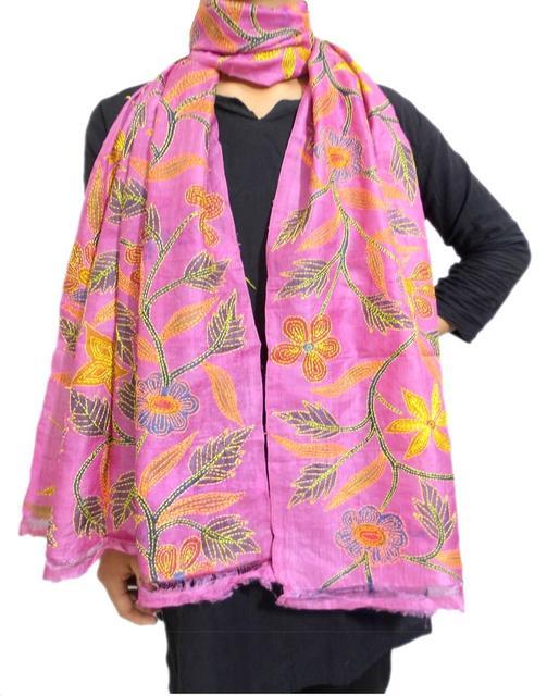 Nakshi Kantha Stole on Block Print Tussar Silk- Pink