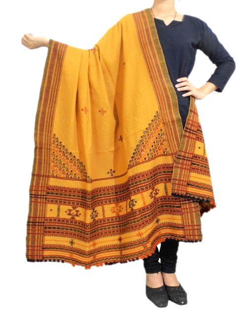 Kutchi Patang Mirror Embroidery Shawl- Mustard Yellow