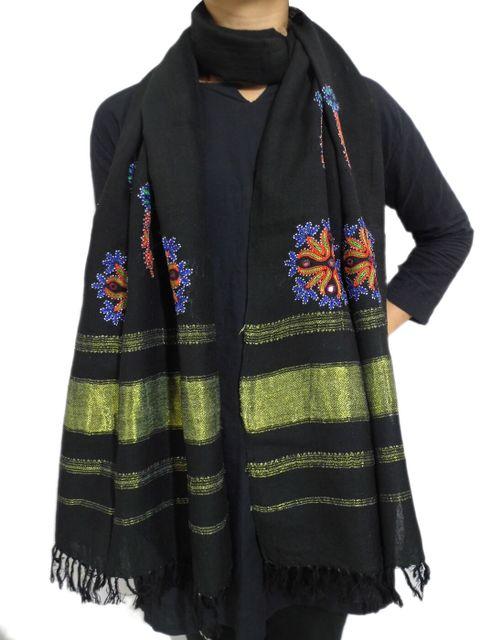 Kutchi Ahir Embroidery Wool Stole- Black