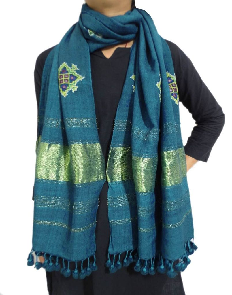 Kutchi Ahir Embroidery Wool Stole- Blue