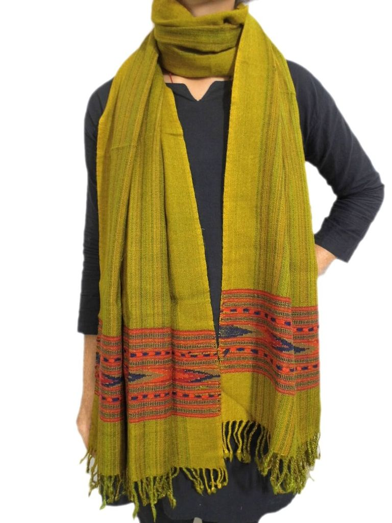 Handwoven Himalayan Sheep Wool Stole- Mustard Green