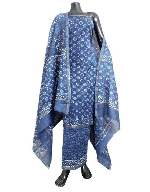 Indigo Dabu Print Chanderi Silk Salwar Suit