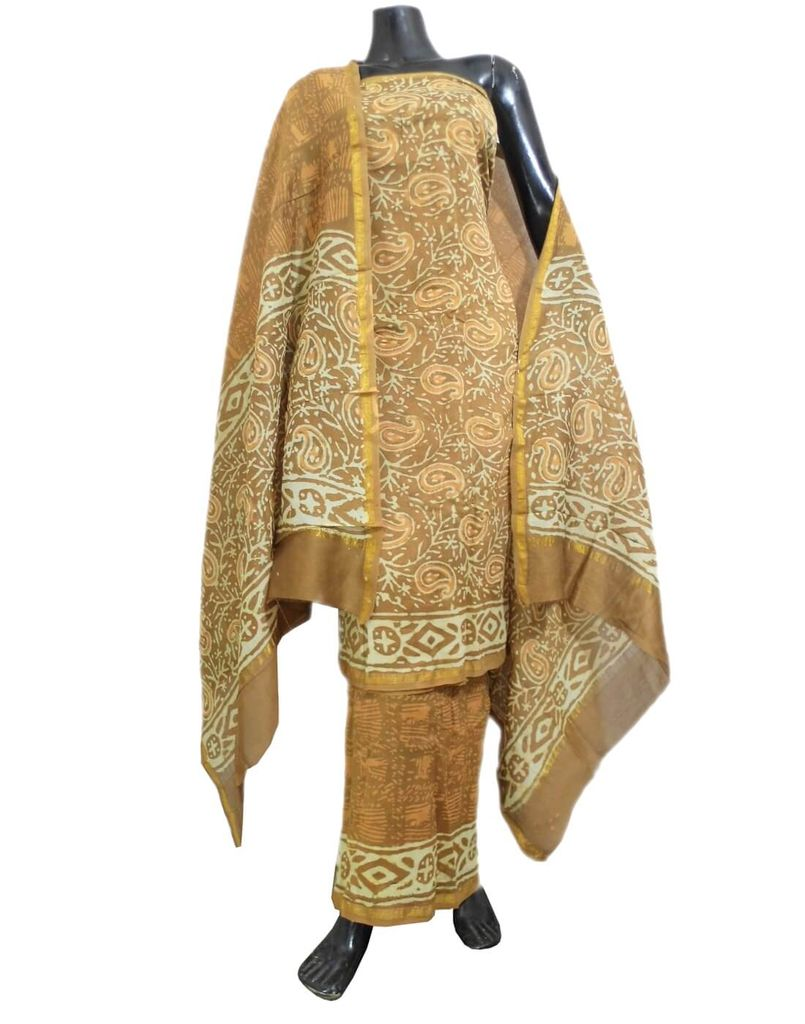 Dabu Print Chanderi Silk Salwar Suit-Brown