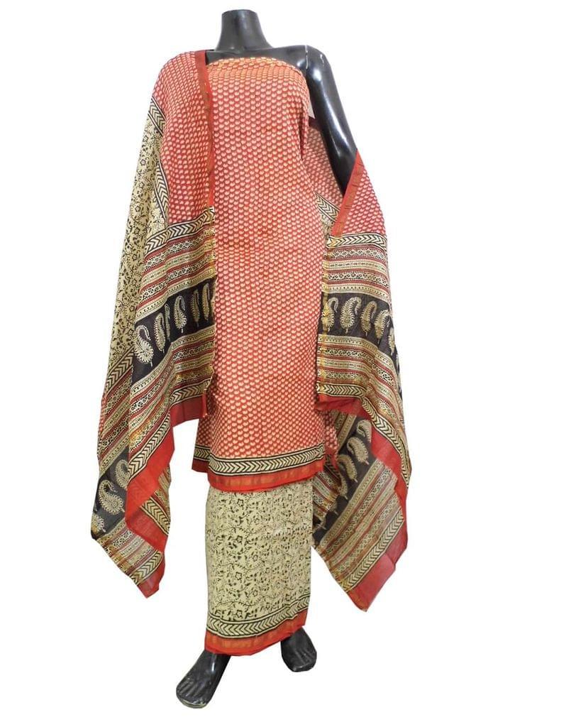 Dabu Print Chanderi Silk Salwar Suit-Red&White