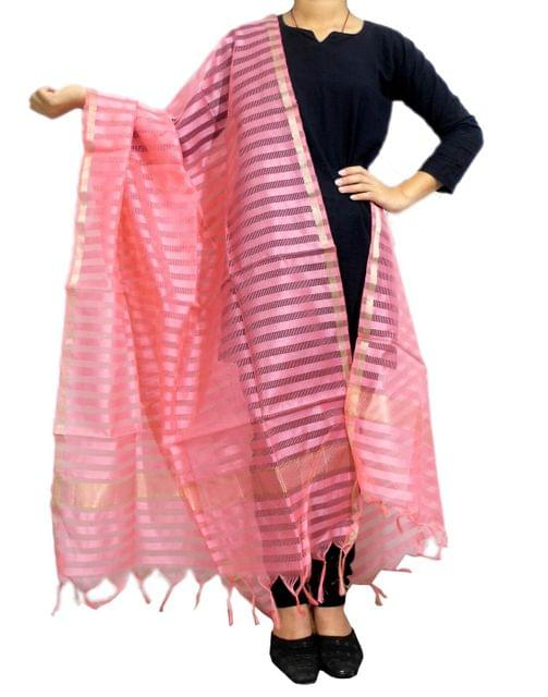 Cotton Silk Dupatta- Peach