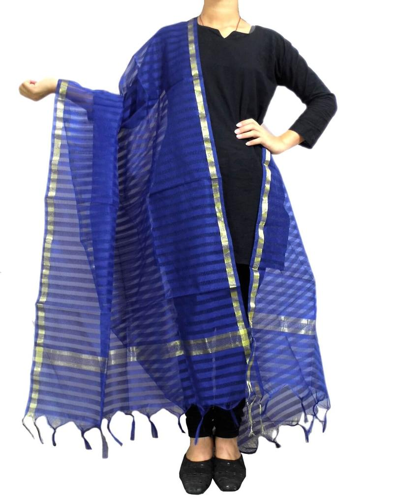 Cotton Silk Dupatta- Blue