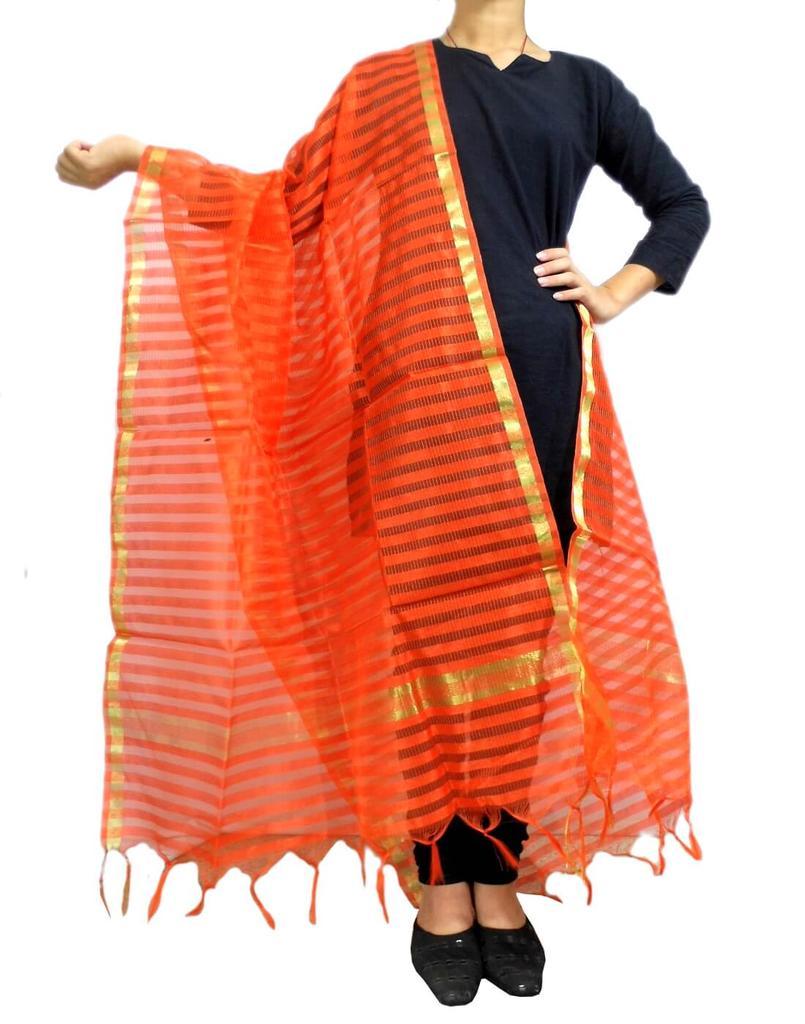 Cotton Silk Dupatta- Orange