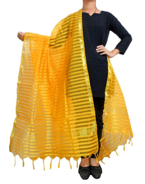 Cotton Silk Dupatta- Mustard Yellow