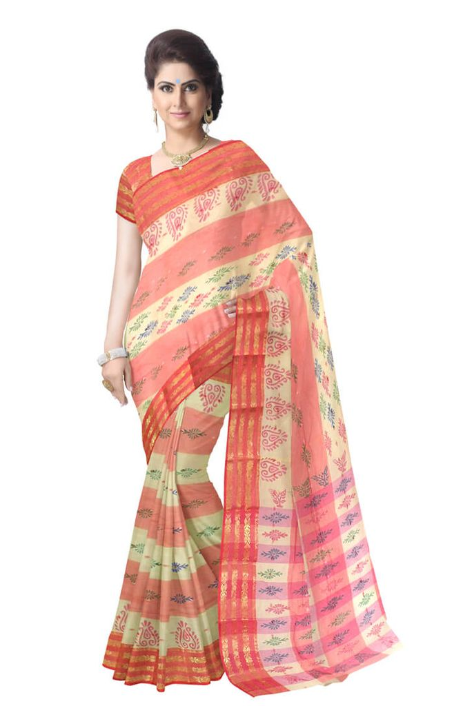 Striped Pattern Bengali Tant Saree- Red&Offwhite