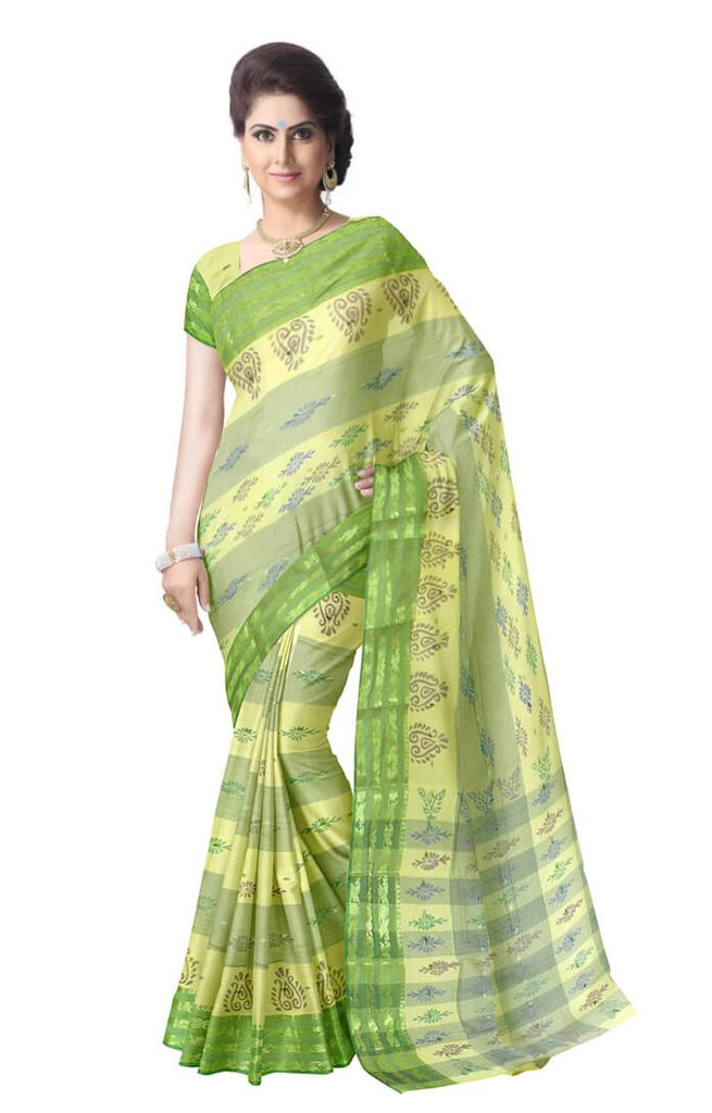 Striped Pattern Bengali Tant Saree- Green&Offwhite