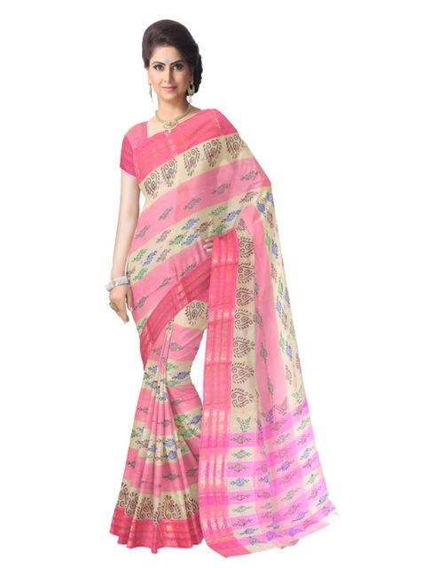 Striped Pattern Bengali Tant Saree- Pink&Offwhite