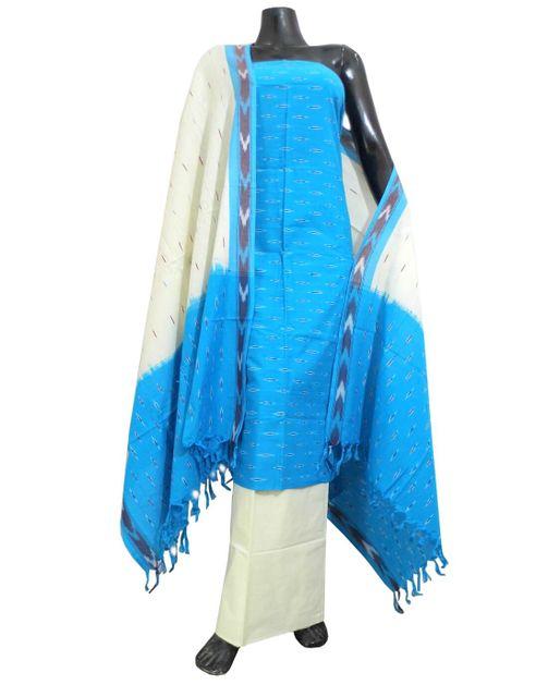 Handloom Cotton Ikat Salwar Suit- Turquoise&White