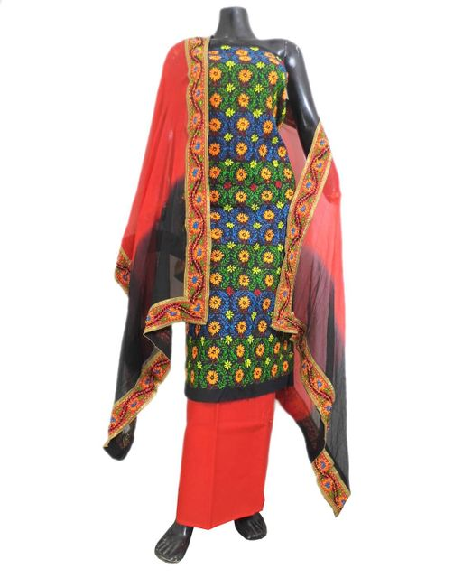 Handembroidered Salwar Suit with Champa Jaal-Black&Red 1