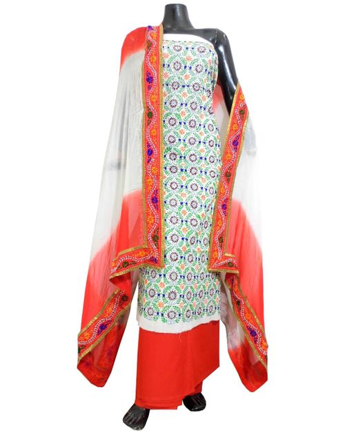 Handembroidered Salwar Suit with Champa Jaal-Orange&White 2