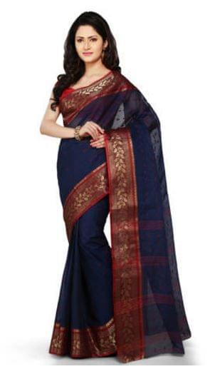 Bengali Tant Saree- Blue&Red