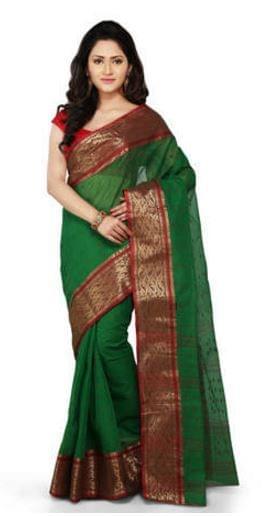 Bengali Tant Saree- Green&Red