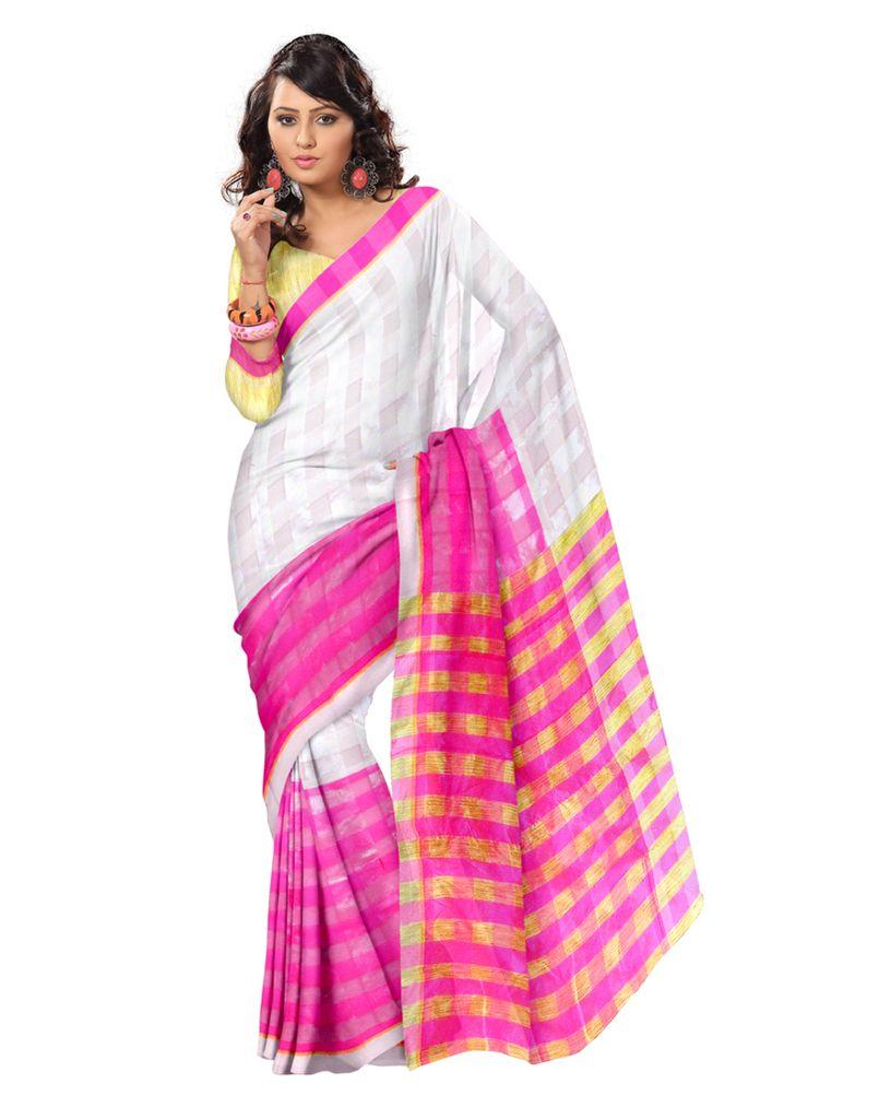 Bengali Tant Saree- Pink&White