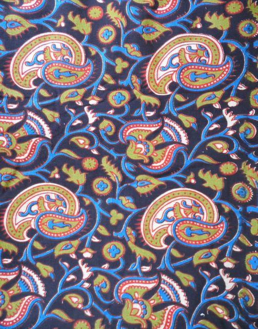Kalamkari Handblock Print Running Material- Blue&Olive Green (1 mtr/2.5 mtr)