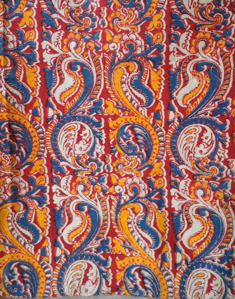 Kalamkari Handblock Print Running Material-Red& Blue Pattern(1 mtr/2.5 mtr)