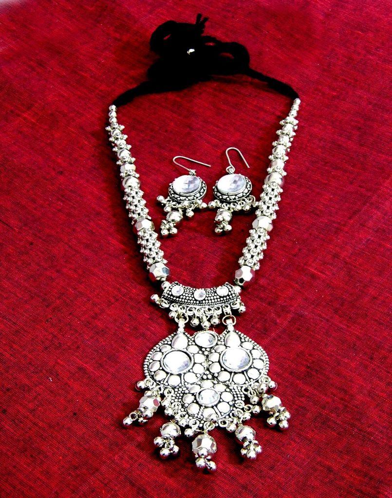 Oxidized Metal Jewellery Set- Glass Beads Pendant