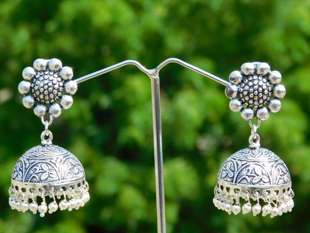 German Silver Jhumkas/Jhumkis- Flower Studs