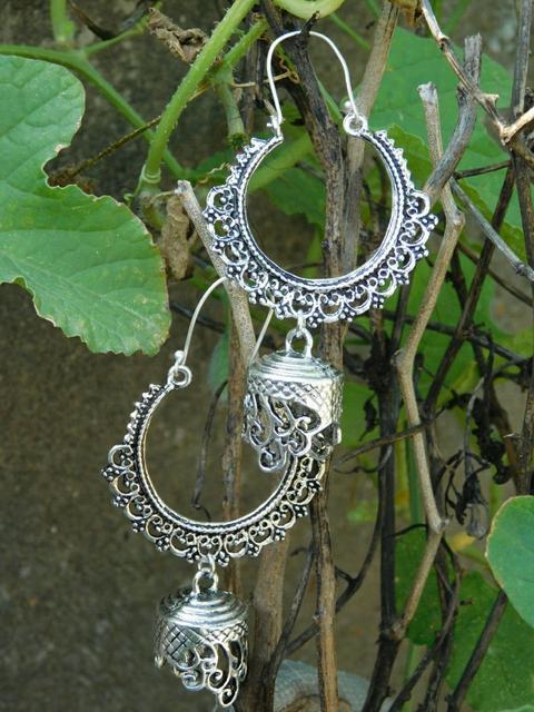 German Silver Chandbali Earrings