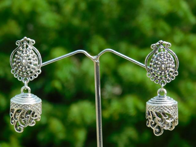 German Silver Asymmetric Jhumkas