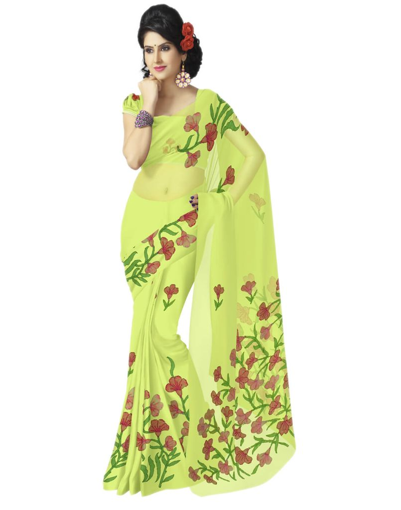 Shadow Work Saree in Faux Georgette- Lime Yellow