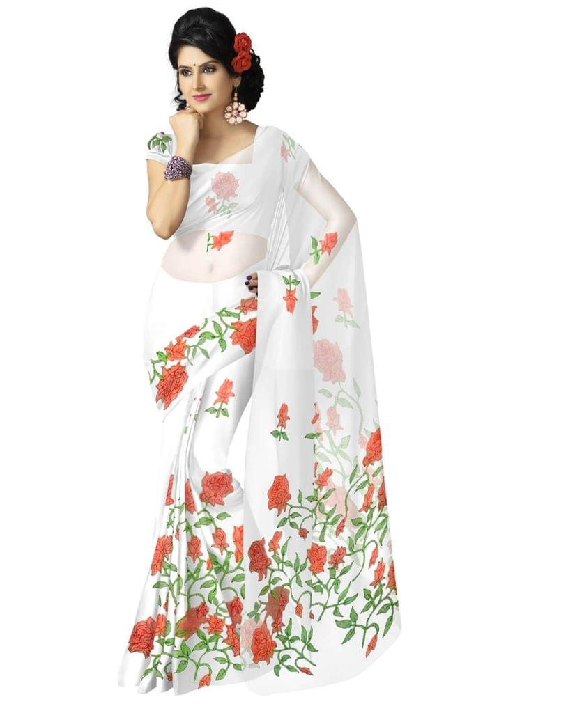 Shadow Work Saree in Faux Georgette-White
