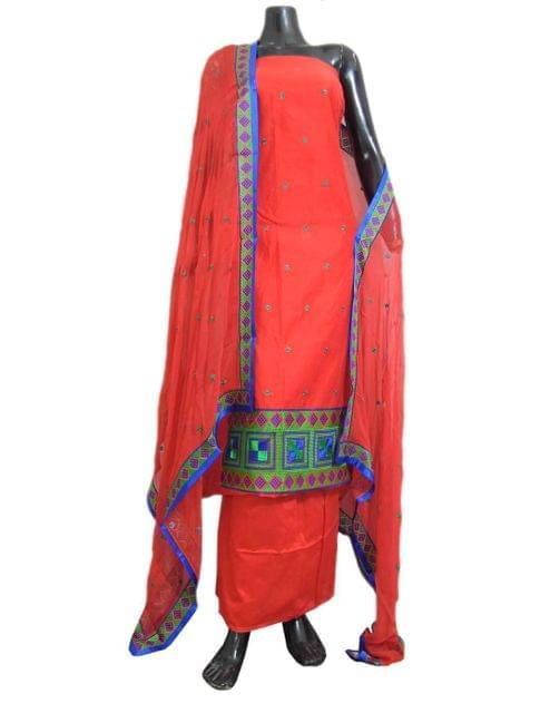 Unstitched Phulkari Suit Piece Cotton Silk-Red 1