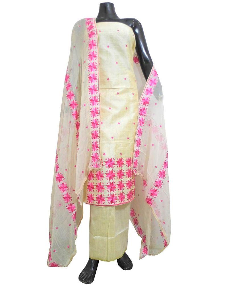 Unstitched Phulkari Suit Piece Cotton Silk-Pink&Offwhite 1