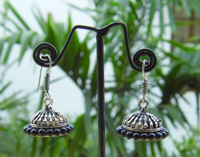 Oxidized Metal Jhumkas/Jhumkis- Black Beads