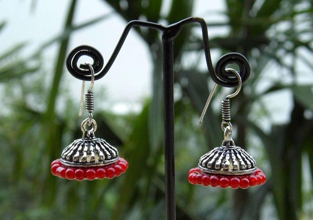 Oxidized Metal Jhumkas/Jhumkis- Red Beads