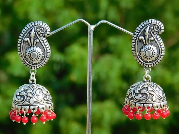 German Silver Jhumkas/Jhumkis- Red Beads
