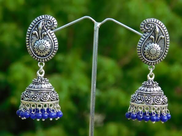 German Silver Jhumkas/Jhumkis- Blue Beads