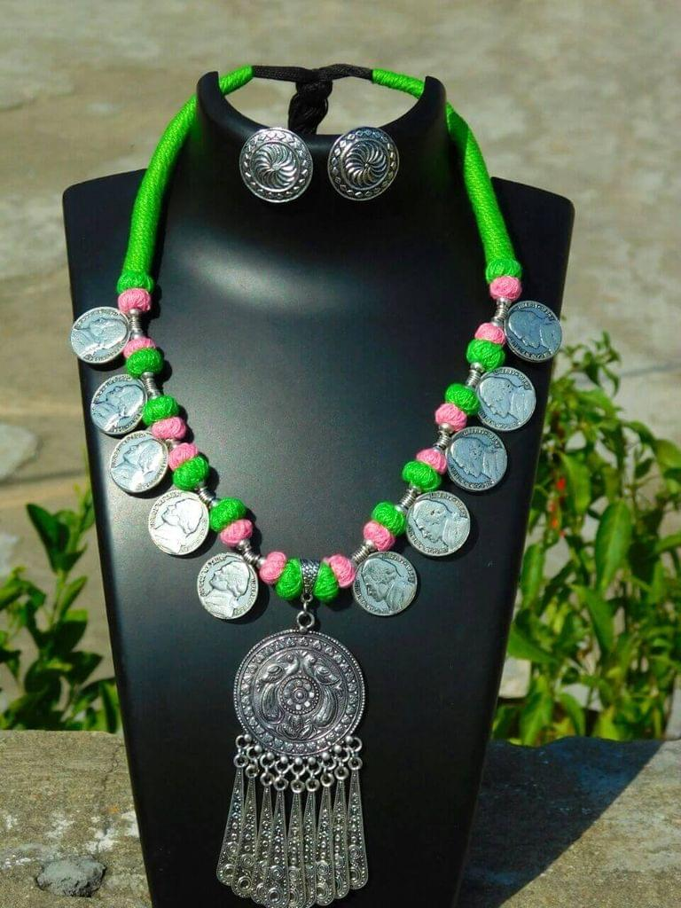 Threaded German Silver Necklace Set with Tasseled Round Pendant- Green&Pink