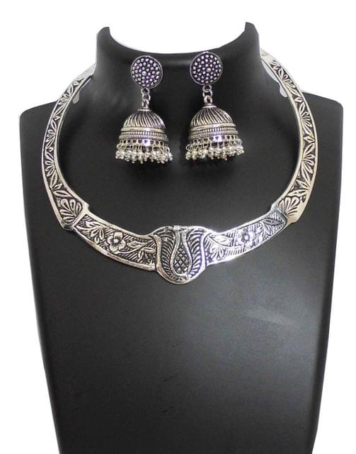 Oxidized German Silver Hansuli and Jhumka Set- Pattern 2